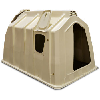 Small animal shelter showing feed door