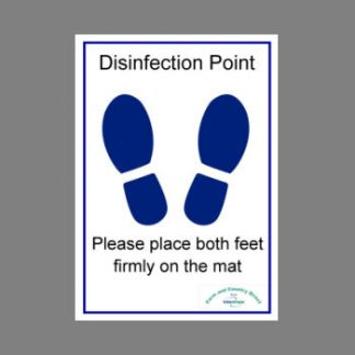Foot disinfection sign