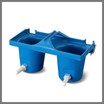 Calf bucket feeder for paired rearing