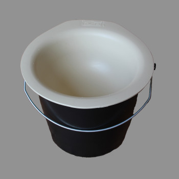 calf starter feed bowl on bucket